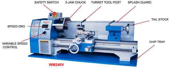 AMA240V-400 Variable Speed Bench Lathe - Metric