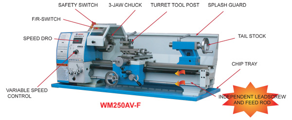 AMA250AVF-550 Bench Lathe - Variable Speed with Power Cross Feed